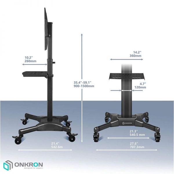 Мобильная стойка для телевизора с полкой ONKRON TS2551 чёрная